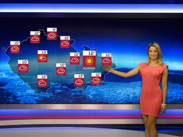 Nové Počasí na Nově, ikony teplot. Moderátorčin pohyb dlaní snímá Kinect umístěný nad kamerou. Foto: TV Nova