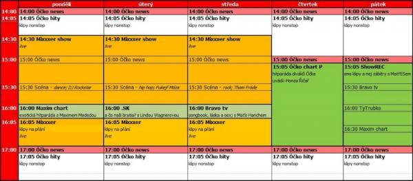 Nové programové schéma televize Óčko