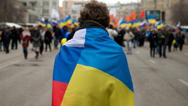 Snímek z protestu proti ruskému postupu na Krymu z 15. března v Moskvě. Foto: Profimedia.cz, AFP