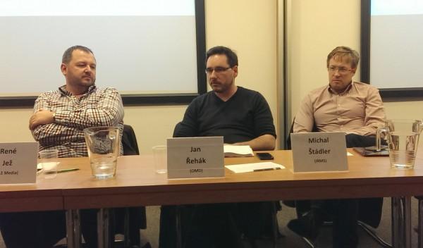 Účastníci debaty: zleva René Jež, Jan Řehák, Michal Štádler