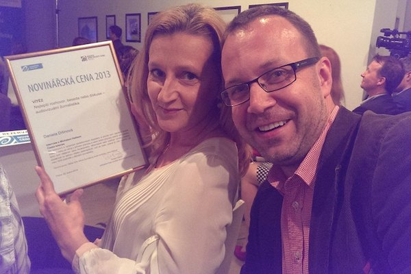 Daniela Drtinová a její kolega editor Jan Rozkošný na dnešním slavnostním večeru
