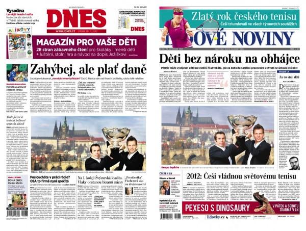 Zpočátku se novinám téhož vydavatele podařilo i trefit stejnou fotku. Příklad z listopadu 2012