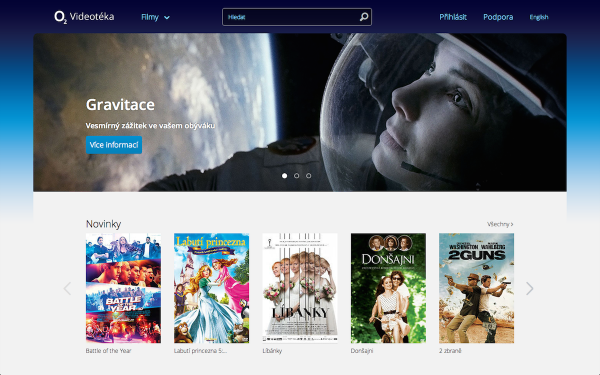 Úvodní stránka služby O2 Videotéka na webu