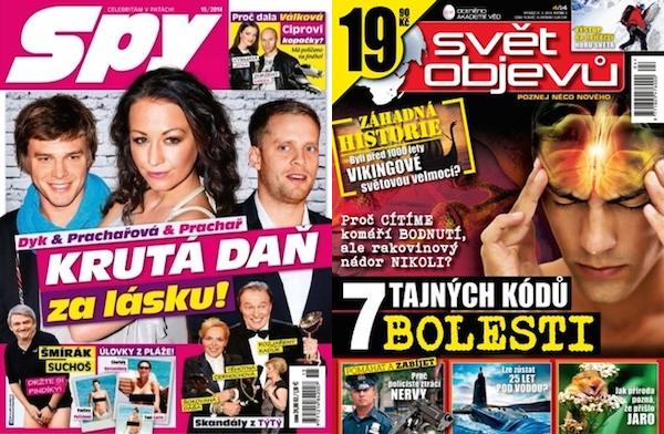 Obálky posledních čísel časopisů Spy a Svět objevů