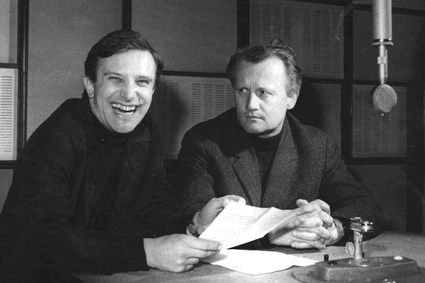 Jiří Suchý a Jiří Šlitr ve studiu Vltavy. Foto: archiv Českého rozhlasu