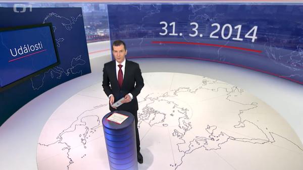 Večerní zprávy z upraveného studia ČT odvysílala poprvé v pondělí 31. března