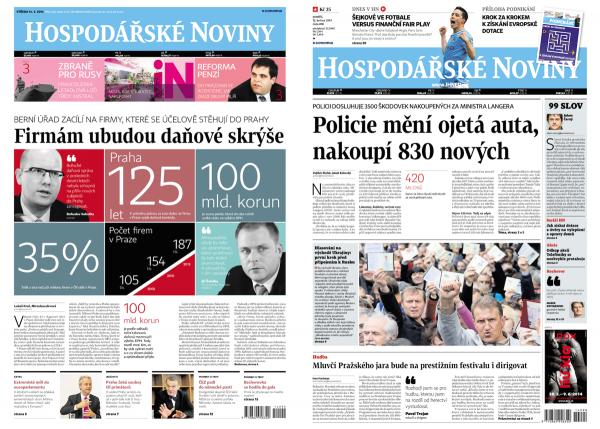 Vlevo nová (dnešní) a vpravo předchozí (předvčerejší) podoba titulní strany Hospodářských novin