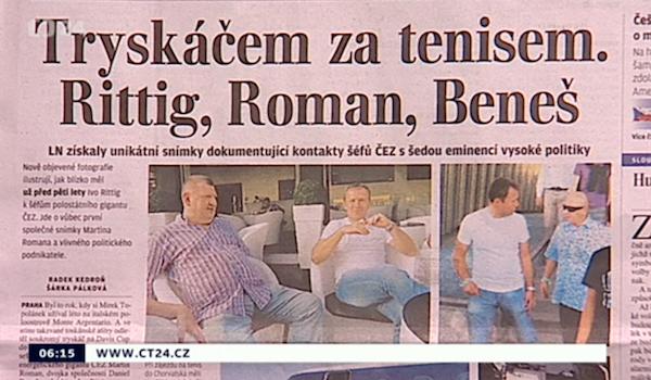 Ranní vysílání ČT24 probírá agendu Babišových Lidových novin. Repro: ct24.cz