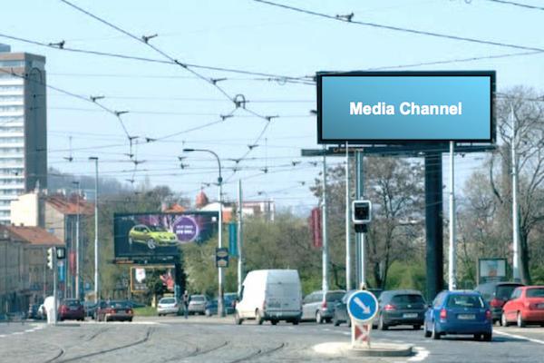 Jeden z bigboardů Media Channel na Palmovce, už nestojí. Repro: mediachannel.cz