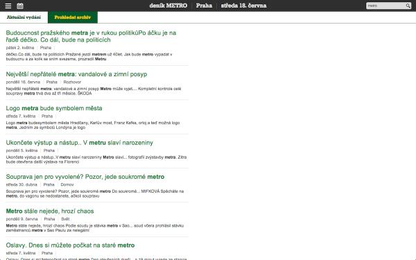 Webová čtečka Mafry, s deníkem Metro: fulltextové vyhledávání. Kliknutím zvětšíte