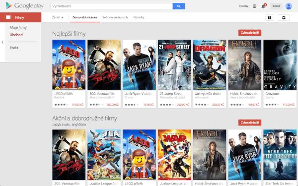 Nabídka služby Filmy v obchodě Google Play