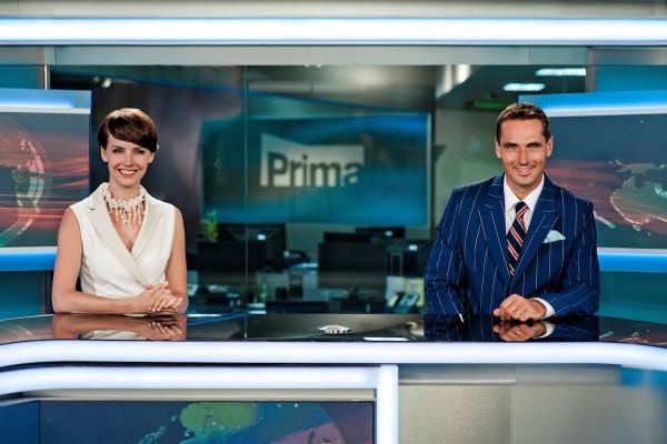 Gabriela Kratochvílová a Roman Šebrle ve zprávách Primy. Foto: TV Prima