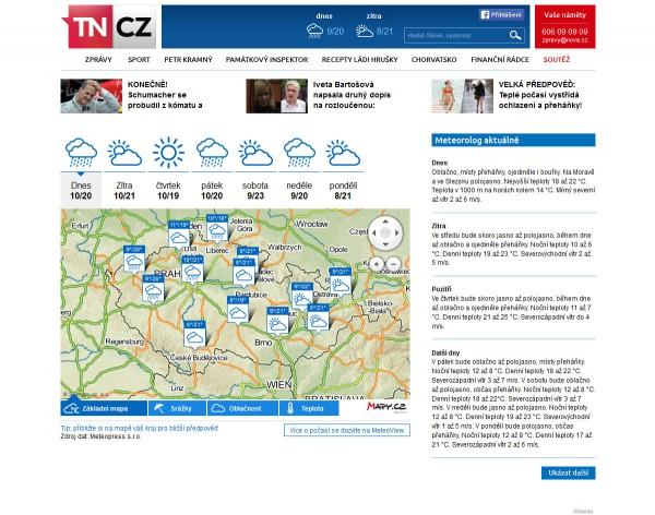Nová podoba TN.cz: předpověď počasí. Kliknutím zvětšíte