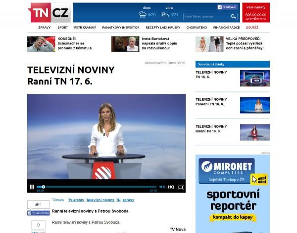 Nová podoba TN.cz: přehrávání pořadu z archivu. Kliknutím zvětšíte