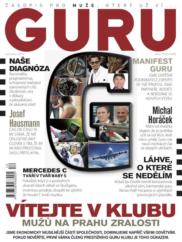 Titulní strana úvodního čísla měsíčníku Guru