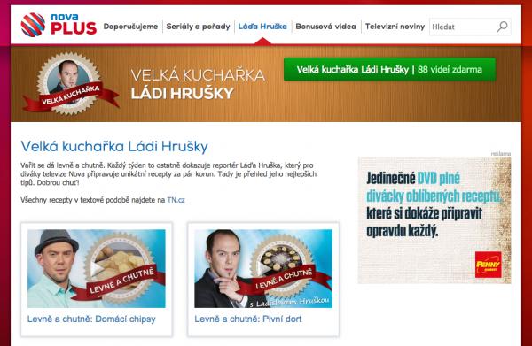 Hruškovy recepty na webu provázejí inzeráty na souhrnné DVD. Repro: novaplus.cz