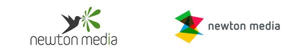 Vlevo dosavadní, vpravo nové logo Newton Media