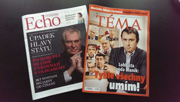 Týdeník Echo na papíře vychází v pátek, stejně jako týdeník Téma vydavatelství Mafra, který startoval 3. října