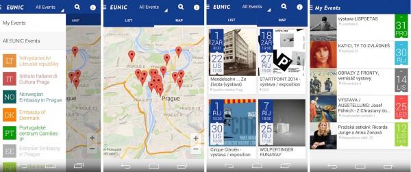 Rozhraní aplikace Eunic App