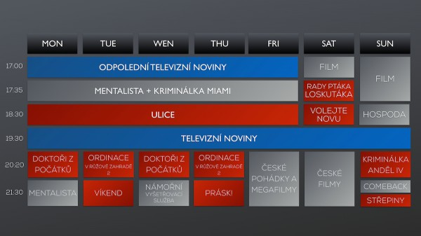 Programové schéma Novy na podzim 2014. Kliknutím zvětšíte