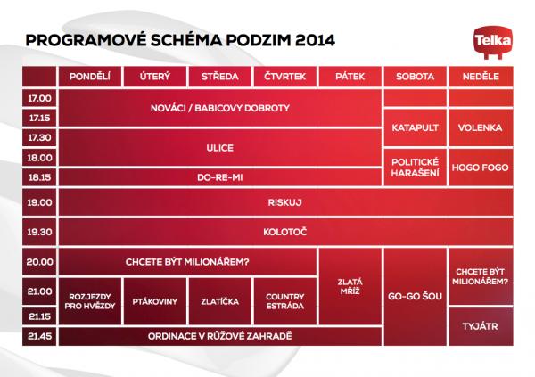 Programové schéma Telky na podzim 2014