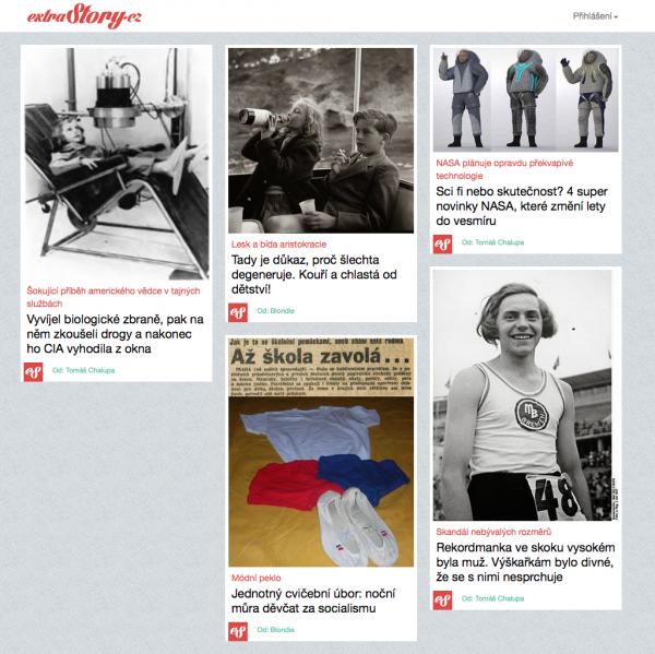 Extrastory.cz je postupně se načítající stránka ve stylu Pinterestu