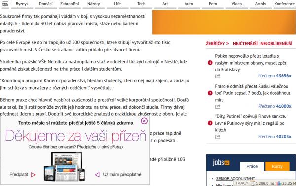 Nový design iHNed.cz: článek