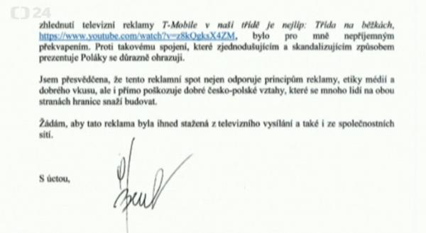 Z dopisu polské velvyslankyně českému šéfovi místní pobočky T-Mobilu