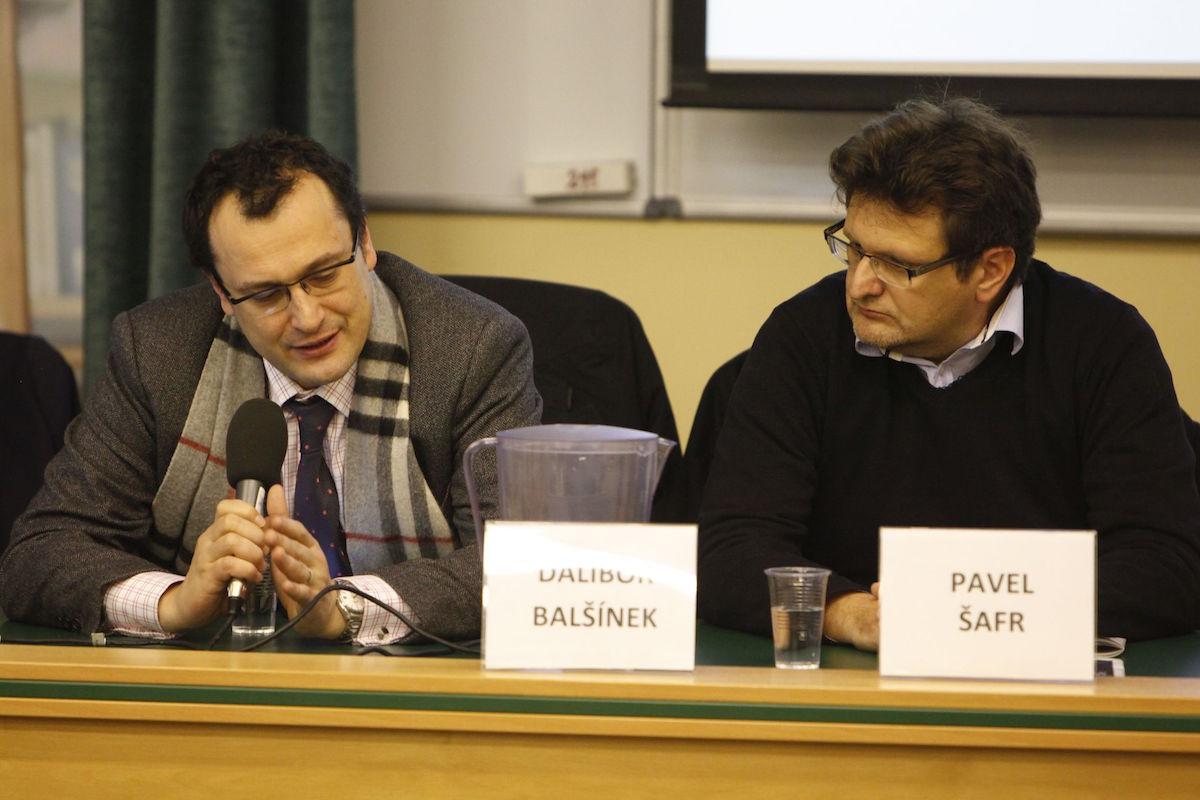 Dalibor Balšínek a Pavel Šafr na mediálních rozpravách v prosinci 2014. Foto: Ondřej Novák