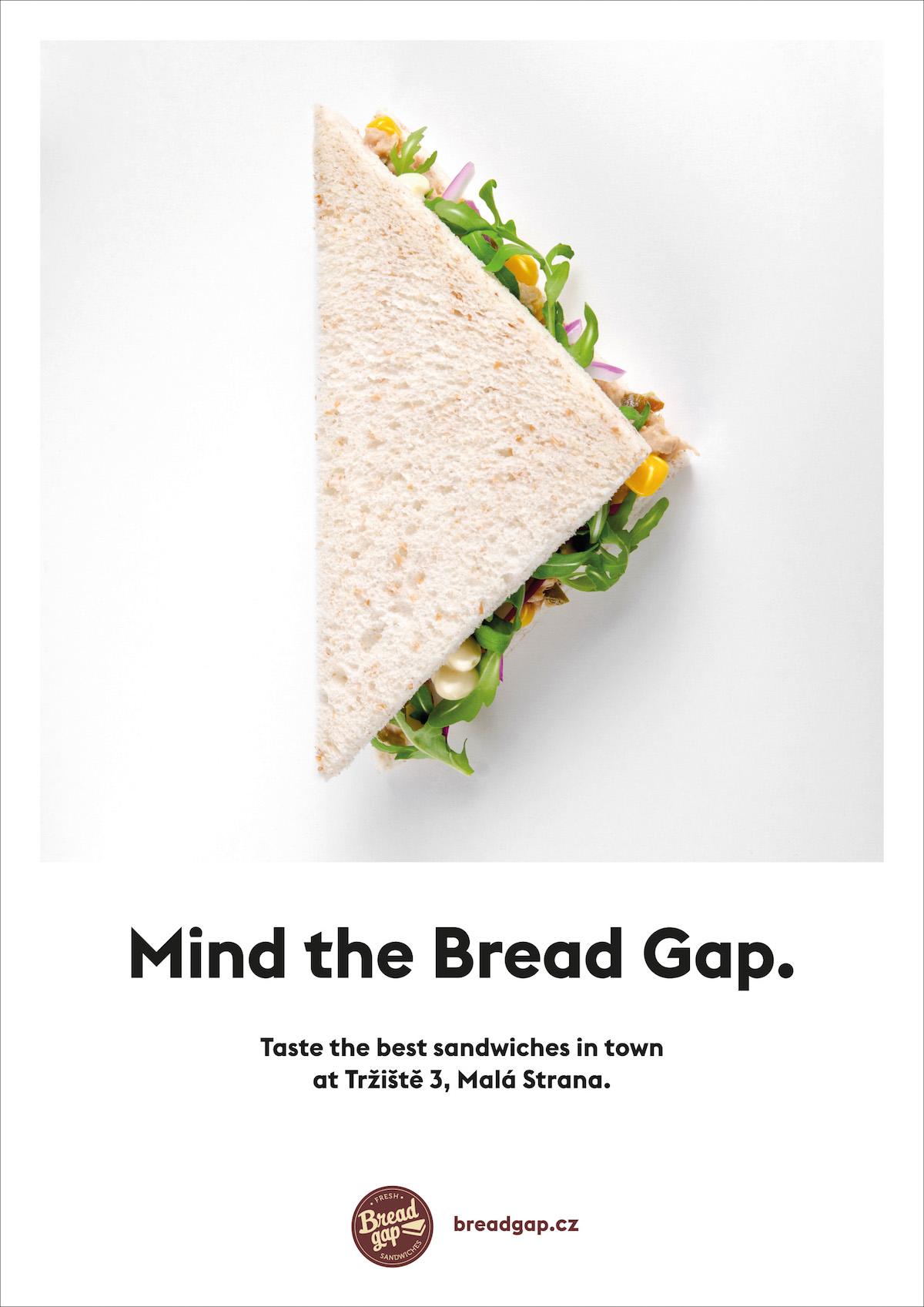 Plakát Bread Gap občerstvovny v centru Prahy
