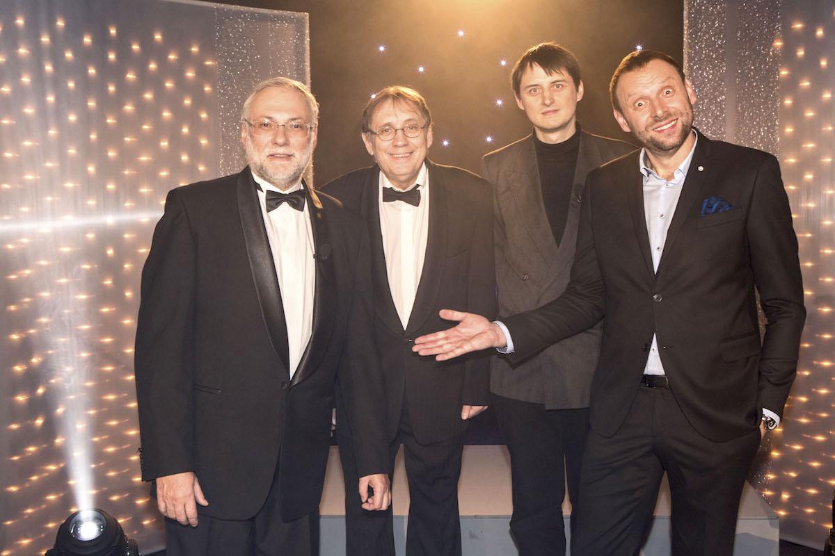 Josef Mladý, Josef Alois Náhlovský, Petr Vydra a Miloš Knor v Estrádičce. Foto: TV Barrandov