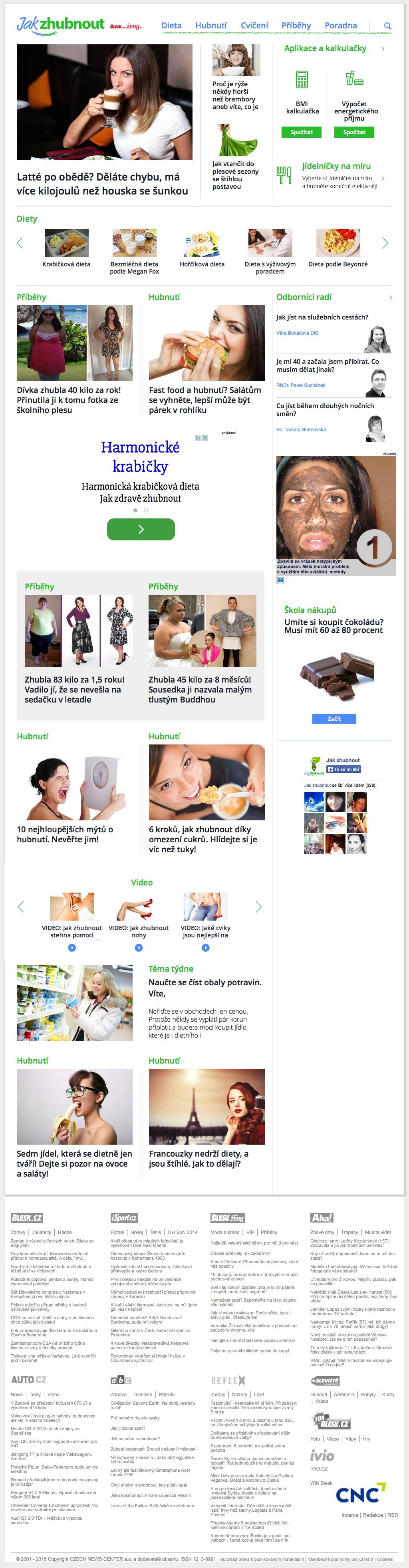 Titulní stránka webu Jak zhubnout