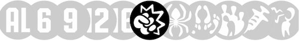 Nizozemský systém Kijkwijzer má (zleva) symboly pro věkovou přístupnost a pak označení scén násilí, strachu, explicitně sexuální výjevy, diskriminující chování, požívání drog a slovní vulgarismy