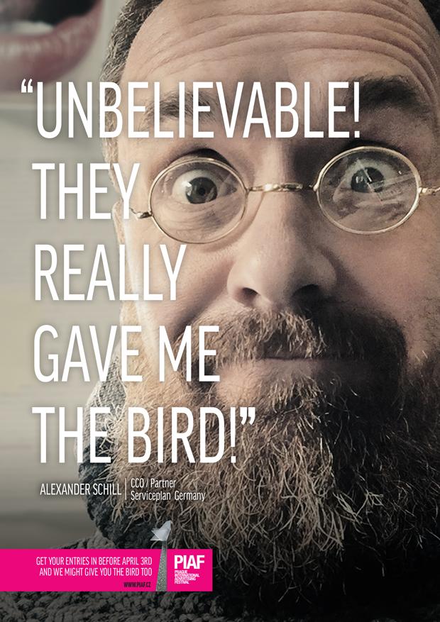 Jeden z propagačních vizuálů letošního ročníku reklamního festivalu PIAF