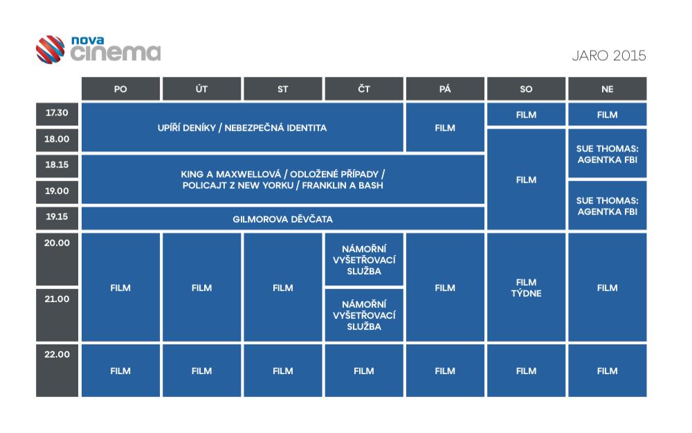 Programové schéma kanálu Nova Cinema na jaro 2015