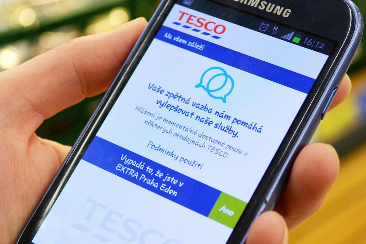 Mobilní aplikace Tesco zpětná vazba