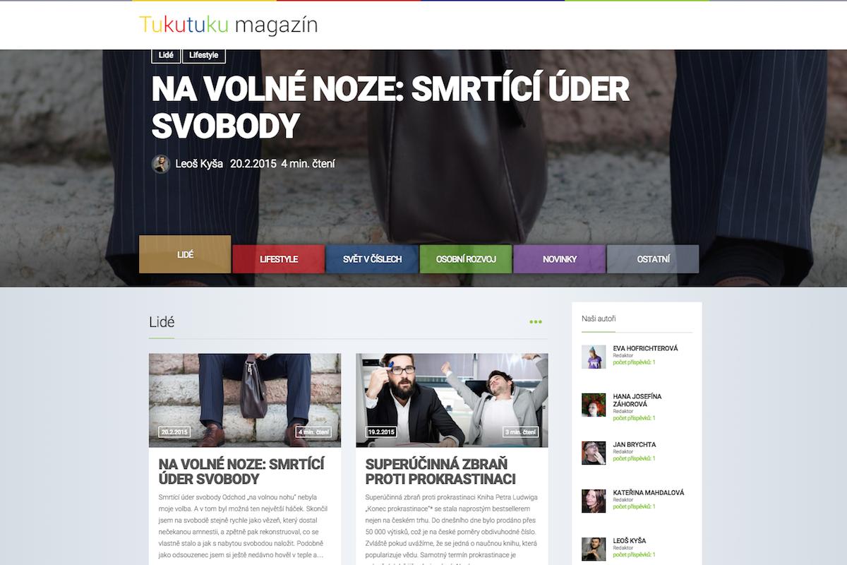 Úvodní stránka nového online magazínu TukuTuku