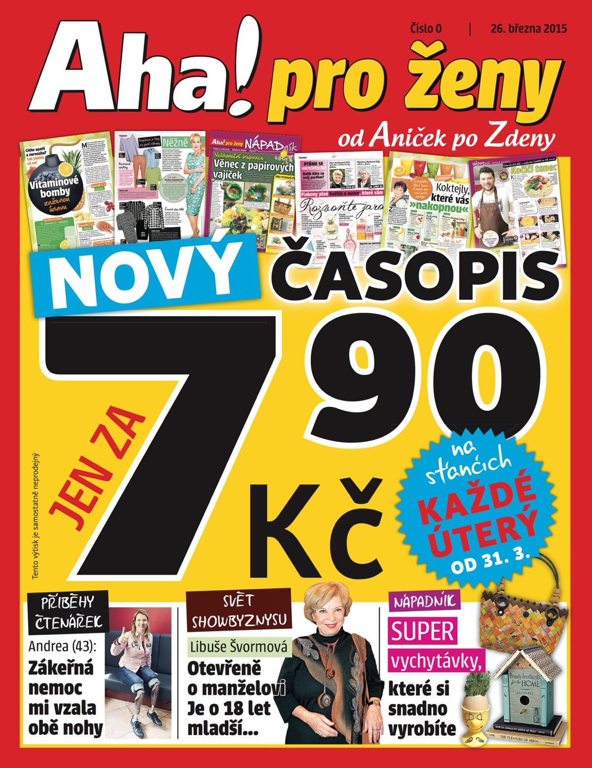 Titulní strana nultého čísla nového týdeníku Aha! pro ženy