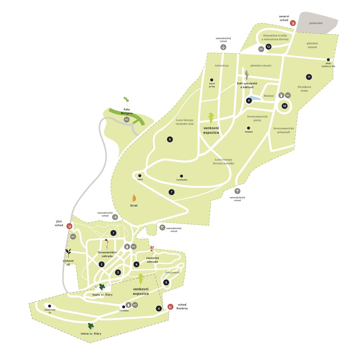 Orientační systém v novém vizuálním stylu Botanické zahrady Praha od Studia Najbrt