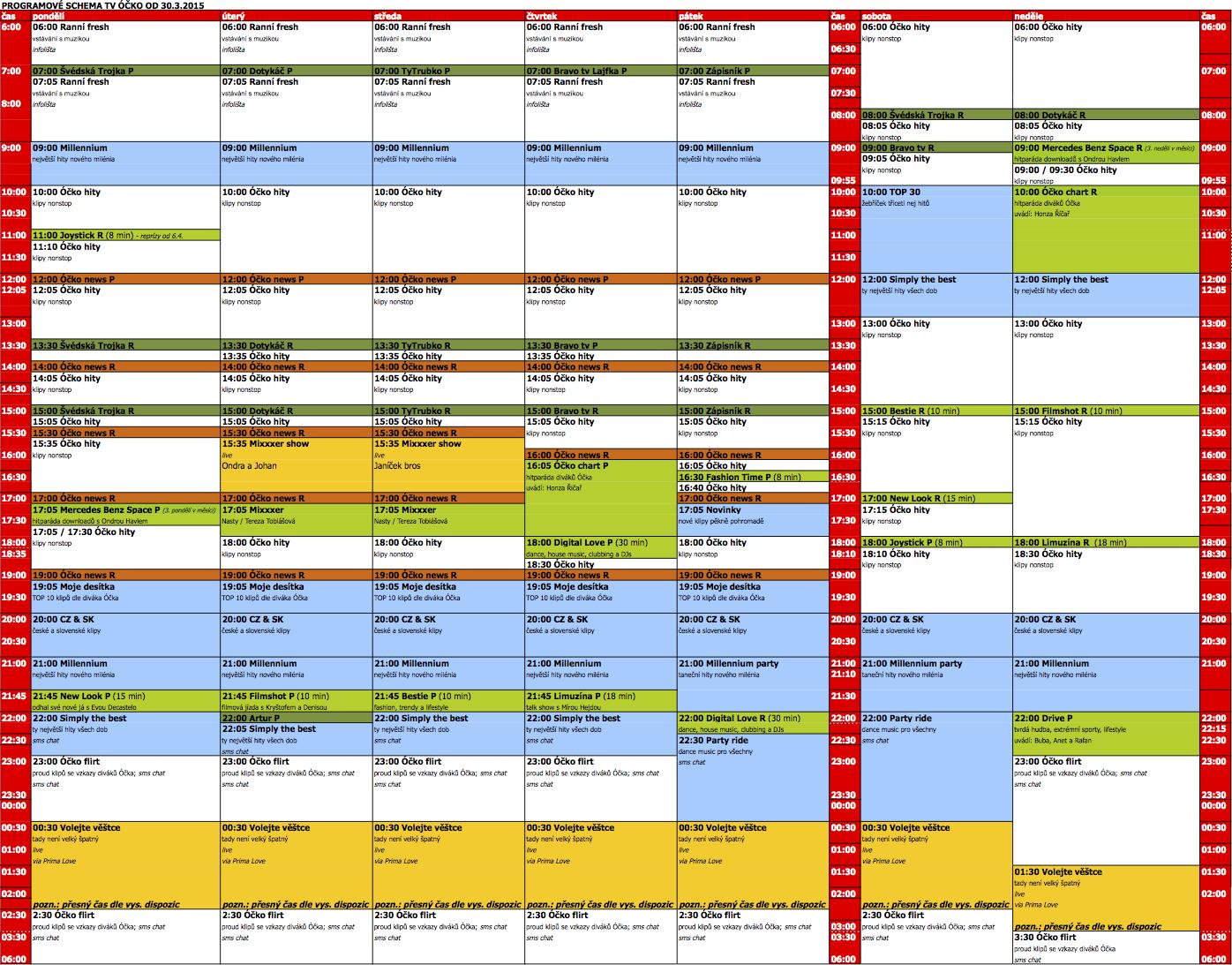 Programové schéma televize Óčko od 30. března 2015