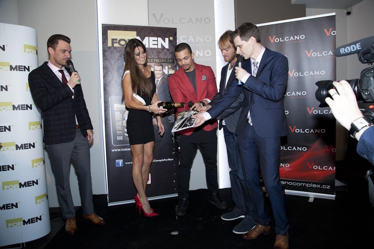 Leoš Mareš, Petra Faltýnová, Ben Cristovao, Jakub Vágner a Jan Müller na křtu Fashion Bible v klubu Volcano
