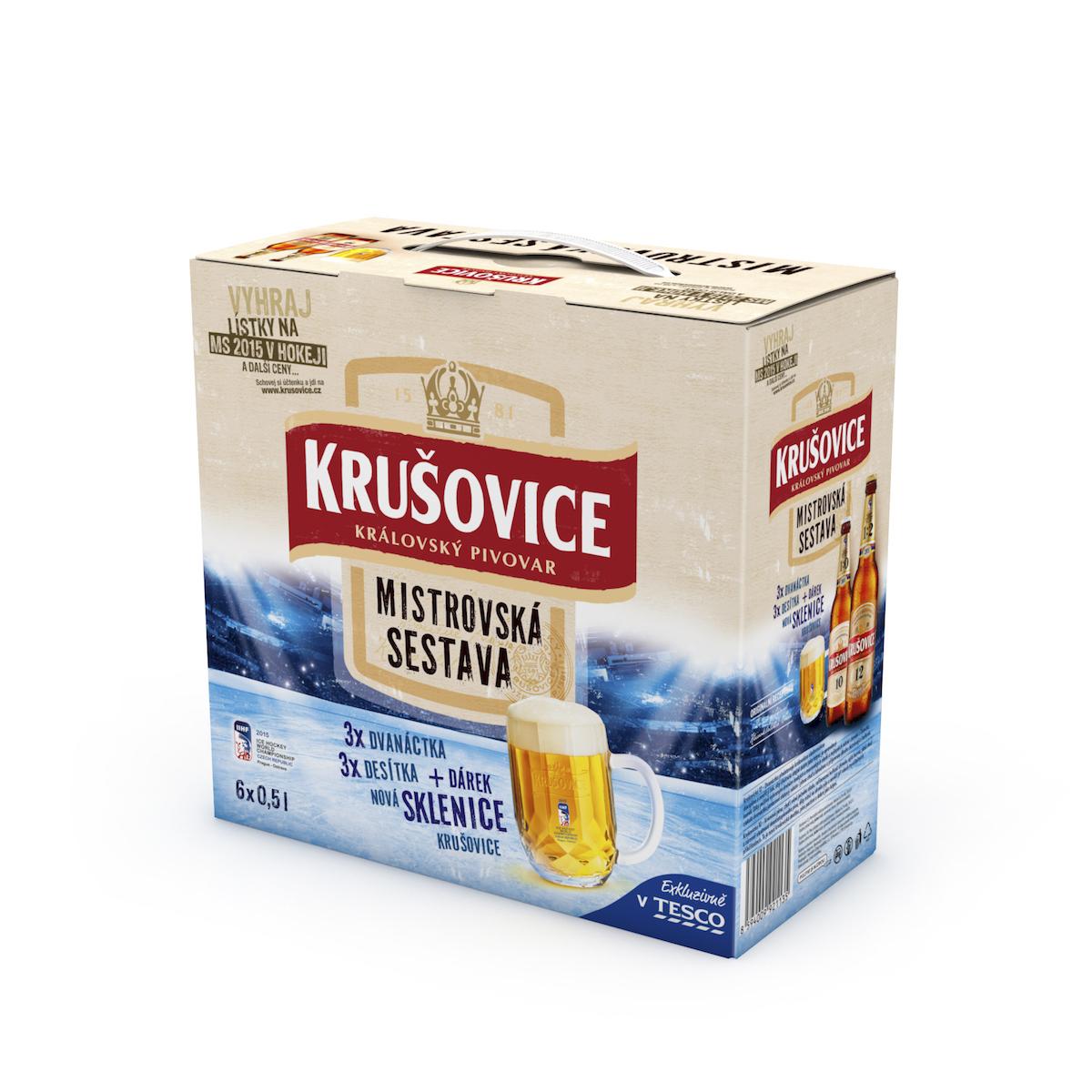 Speciální balení piva Krušovice k hokeji