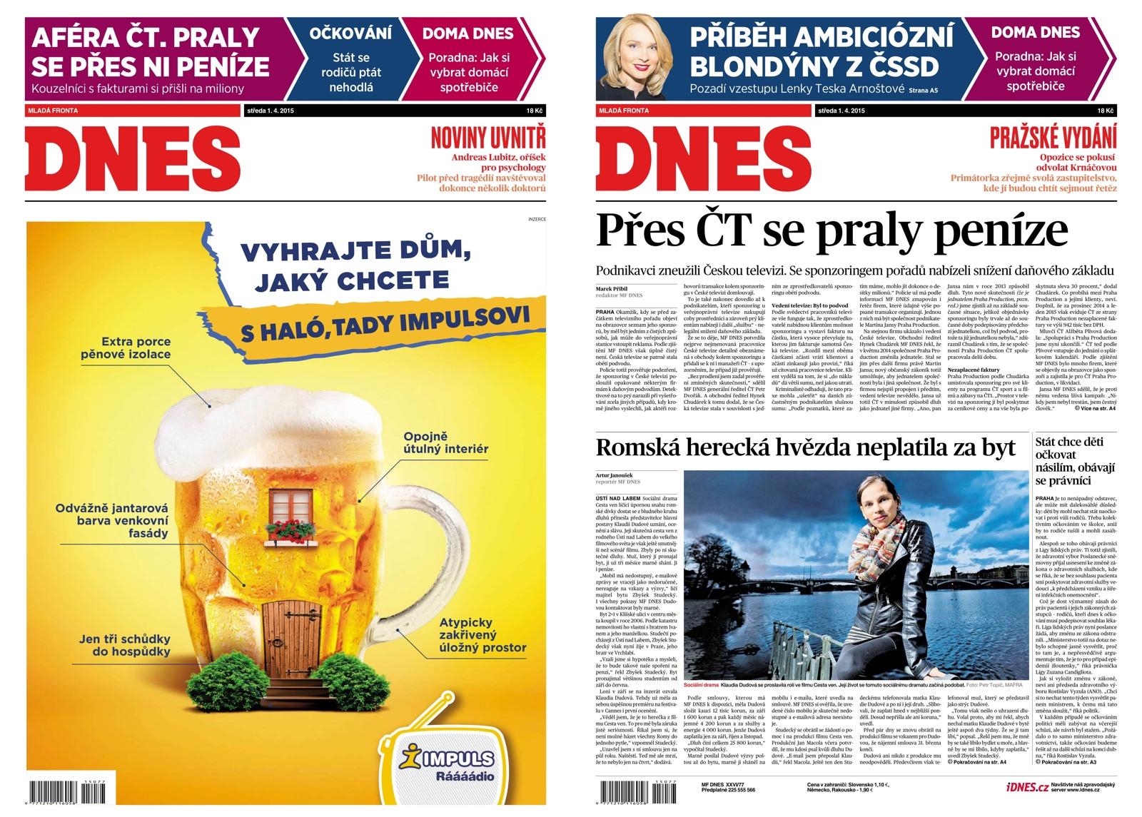 Inkriminovaný článek vyšel 1. dubna 2015 na první straně Mladé fronty Dnes (noviny ten den dostaly reklamní přebal sesterského rádia Impuls)