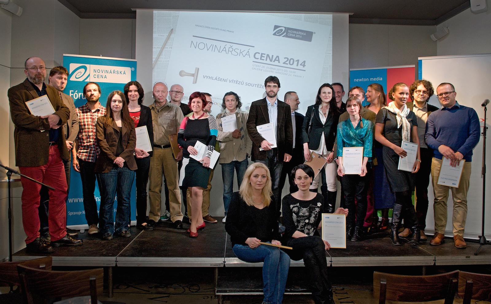 Vítězky a vítězové Novinářské ceny 2014. Foto: Tomáš Vodňanský