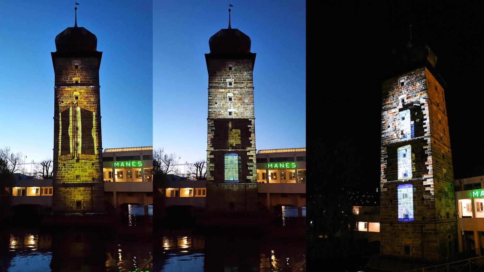 Videomapping Samsungu u pražském Mánesa