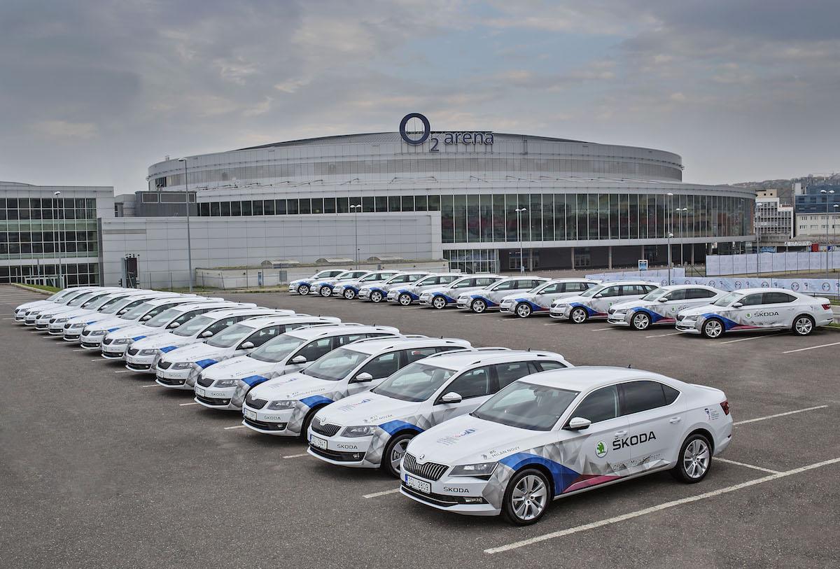 Flotila vozů Škoda pro potřeby šampionátu