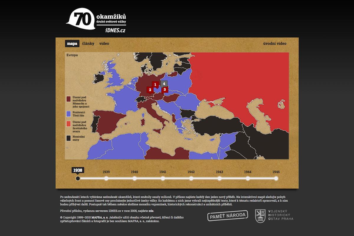 Titulní strana speciálu webu iDnes k 70. výročí konce druhé světové války