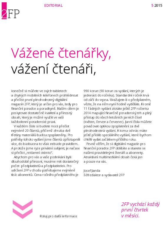 Úvodník magazínu 2FP