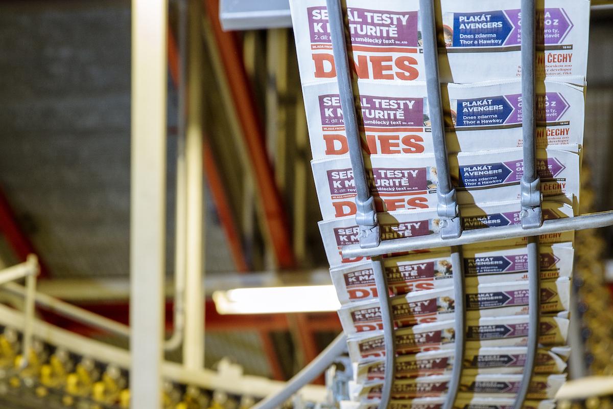 Noviny Mladá fronta Dnes v tiskárně. Ilustrační foto: Mafra