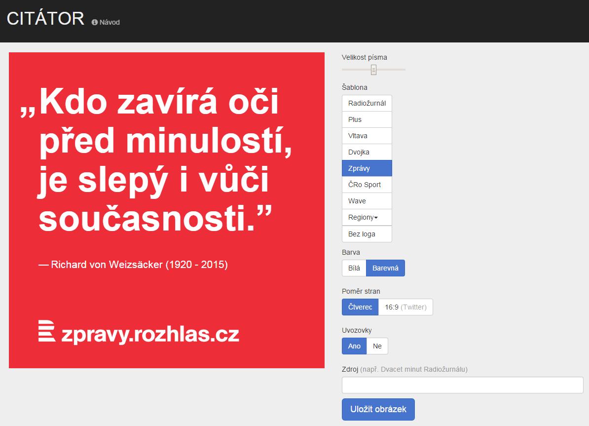 Citátor slouží k přípravě obrázků s textem, pro propagaci obsahu na sociálních sítích